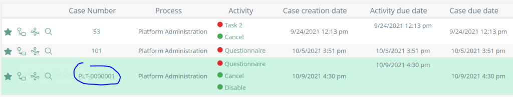 Inbox with the new case number format